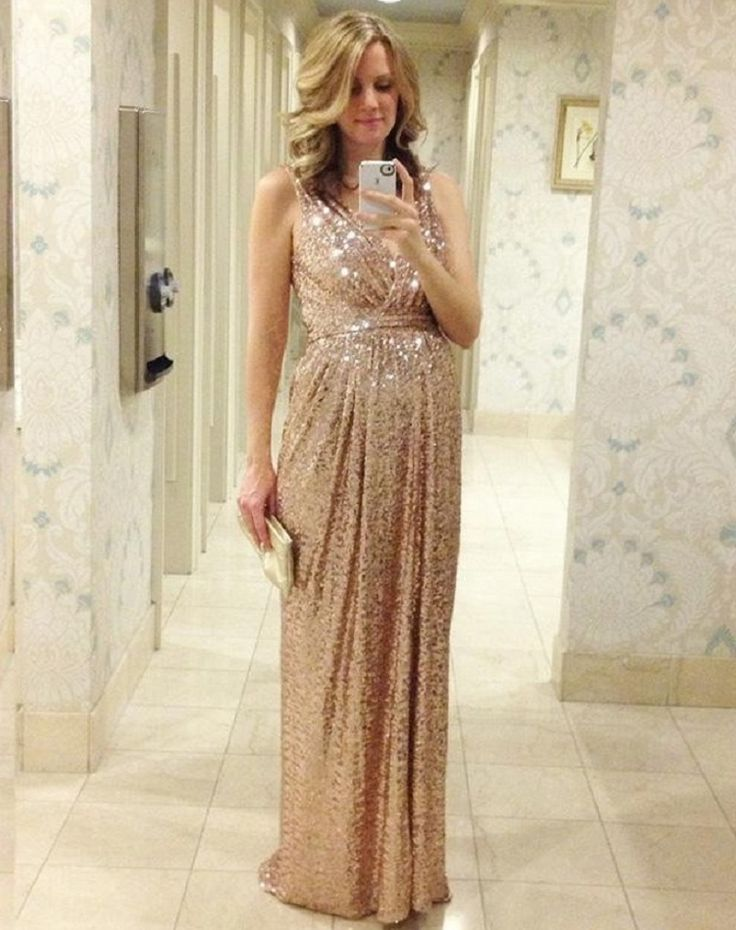 Aliexpress.com : Buy 2015 Rose Gold Sequins Bridesmaid Dresses V Neck A Line Floor Length Maid Of Honor Gold Bling Long Plus Size TQ1819 from Reliable dresse suppliers on Dreams Link Wedding Dress | Alibaba Group