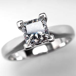 GIA 1 Carat Diamond Engagement Ring Princess Cut in Platinum