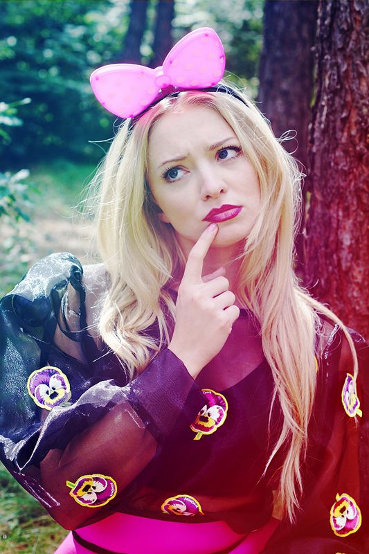 "Basia Kurdej - Szatan for MissSpark. Session ""Alice in Wonderland"". Fashion/Styling: Agnieszka Iskierka. Photo: Aleksandra Dargiewicz. Make up/Hair: Marta Siedlecka. MissSpark PANSIES Blouse & Skirt available online: shop.missspark.com"