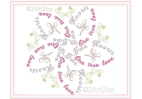 Two hearts one true love word flower machine embroidery