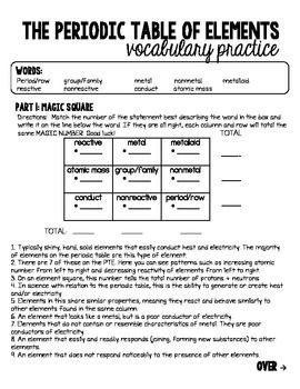 Periodic Table Of Elements Vocabulary Worksheet W Answer Key Vocabulary Worksheets Vocabulary Vocabulary Exercises