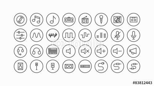 Vektor: Audiogeräte und Hifi Line Icon Set