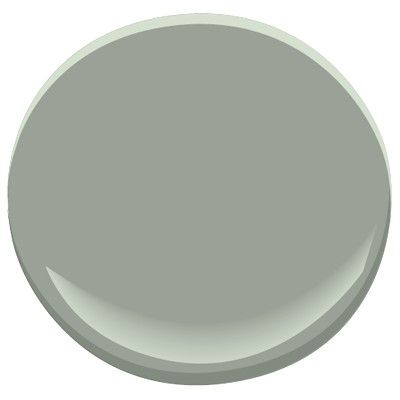 Benjamin Moore-  Heather Gray 2139-40 a muted gray-green that's trending now and will over several years (2014).  Looks fabulous with many of the trending blues (light and dark), yellows, and pair with red without resulting in a Christmas color scheme. per blogger The Decorologist.