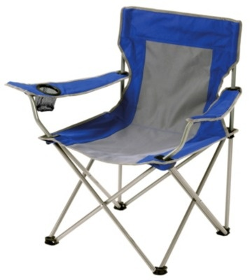 The Halfords Folding Arm Chair Blue has a fashionable grey and blue design, with a durable canvas material so that it provides you with a portable and comfortable seat.