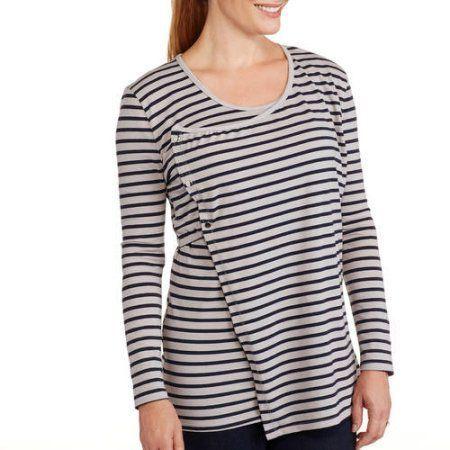 Maternity Long Sleeve Flap Front Nursing Top, Size: Medium, Black