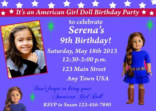 Printable American Girl Birthday Invitation orderecigsjuiceinfo – American Girl Birthday Invitations