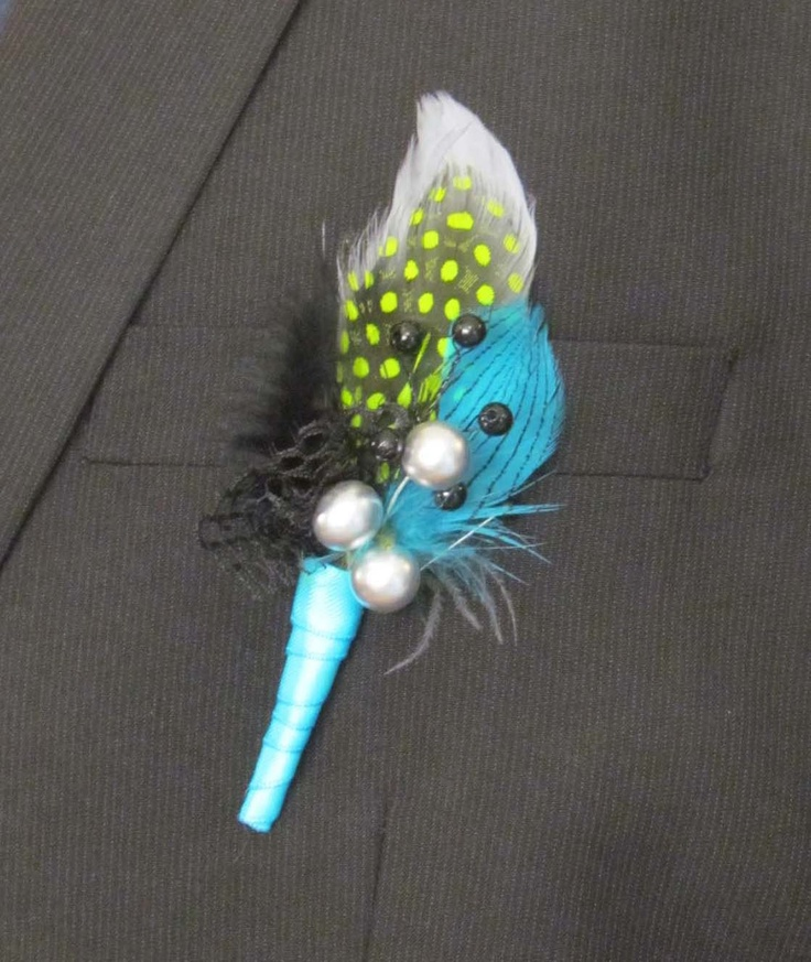 Blue & Green Feather Boutonniere for Prom or Weddings by justanns, via Etsy.