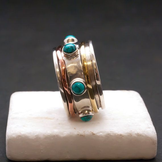 Turquoise Wide Band Ring Men/Woman Sterling by SunSanJewelry