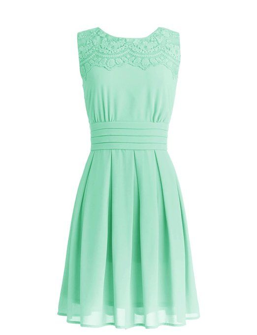 Dressystar Short Prom Party Bridesmaid Gowns with Appliques Neckline Size 6 Mint