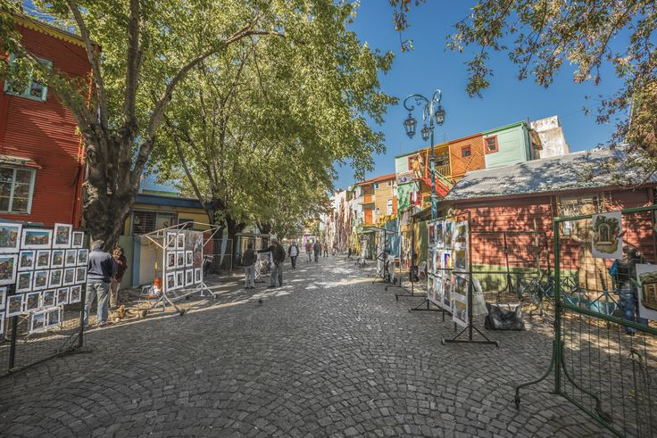 colorful houses of Caminito street in La Boca on April 2013 in Buenos Aires, Argentina.