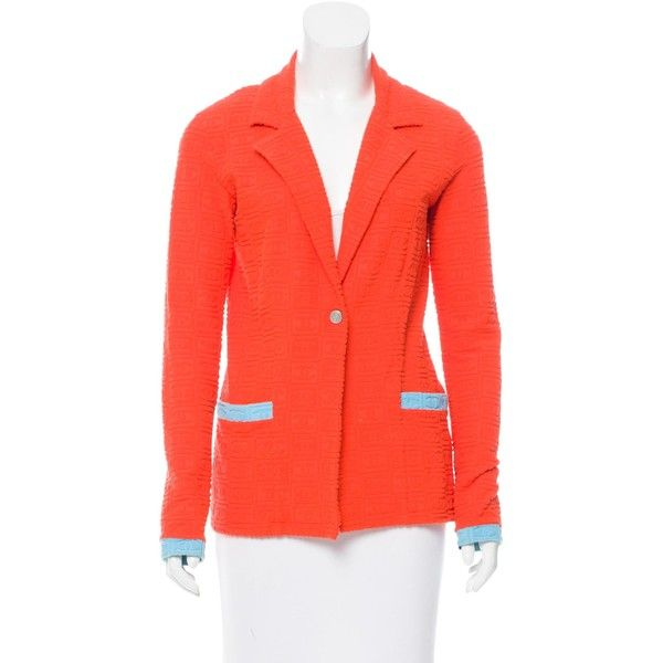 Pre-owned Chanel CC Terrycloth Blazer (14.470 RUB) ❤ liked on Polyvore featuring outerwear, jackets, blazers, orange, blazer jacket, red jacket, terry cloth jacket, terry jacket and orange blazer jacket