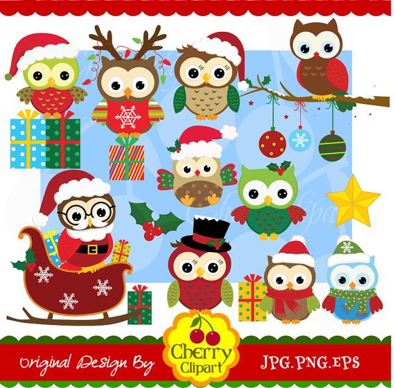 Christmas owls digital clipart set for-Personal and Commercial Use-paper crafts,card making,scrapbooking,web design on Etsy, $5.00