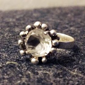 My engagement ring in silver with a rock crystal. It was designed by silversmith Bengt Hallberg in 1971.