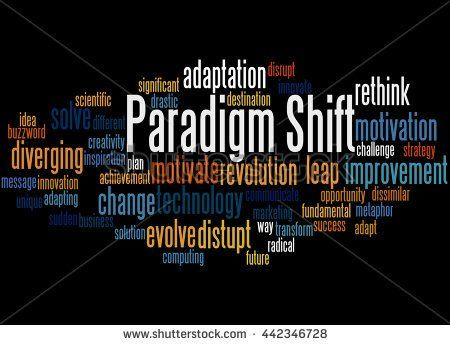 Paradigm Shift, word cloud concept on black background.      - stock photo