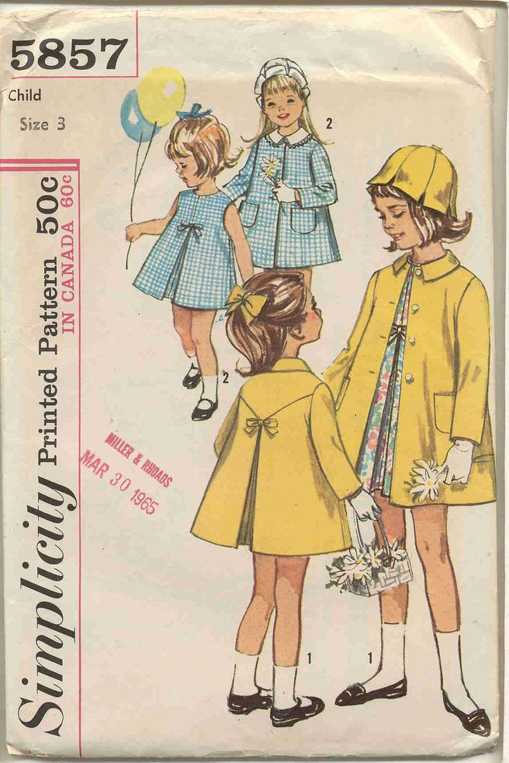 Simplicity 5857 Toddler Girls Dress, Coat , Petal Hat and detachable collar- Vintage Pattern, via Etsy.