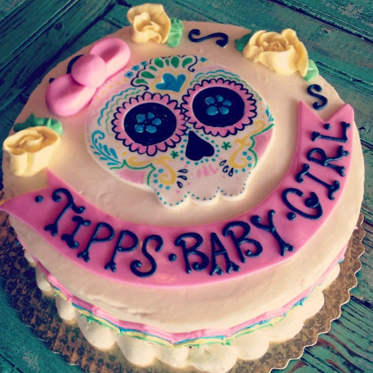 Sugar skull baby shower cake by 2tarts new braunfels tx for Tattoo new braunfels
