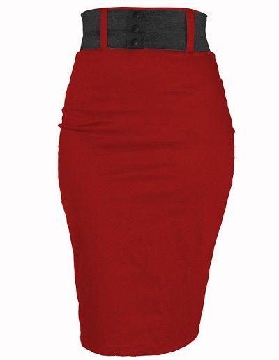 Red high waisted pencil skirt. Va-va-voom...: Strut Skirts, Holidays Skirts, Pencil Skirts Lov, Style Skirts, Stuff Baby, Red High, Red Strut, Black Belts, Steadi Red