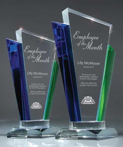 Crystal Distinction Award  http://www.edco.com/awards/crystal-distinction-award - Recognize your star employees with a Crystal Distinction Award. This multi-colored, contemporary award will look great on the desk of your top performers.