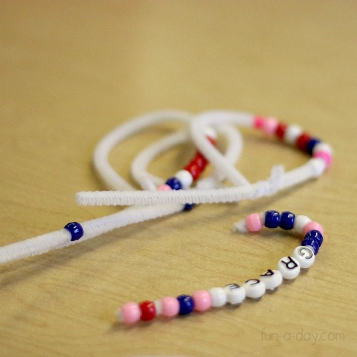 candy cane craft using letter beads
