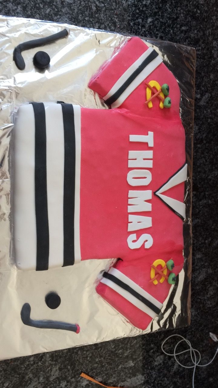 Gâteau maillot de hockey chicago blackhawks