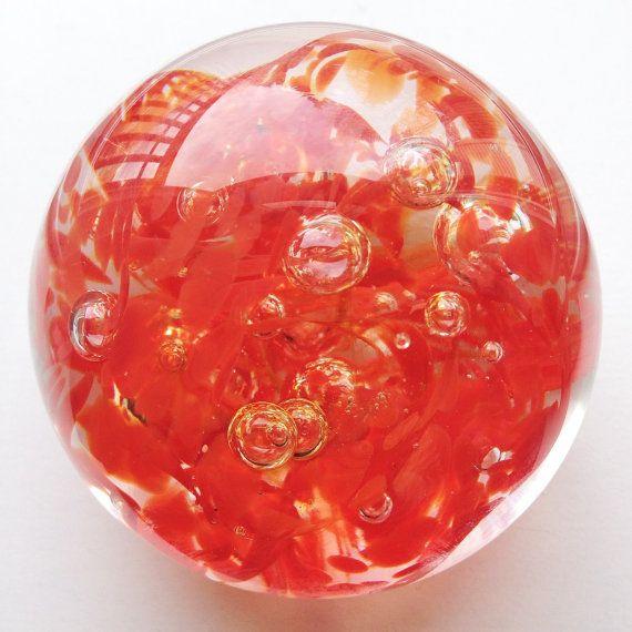 OOAK Hand-Blown Art Glass Paperweight - Orangey Red by mariaidadesigns