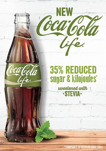 Coca Cola released a new drink, Coke life, a healthier alternative to their other drinks. The green label has its own branding which has nature orientated marketing. This would appeal to more health conscious fans of the drink and would convince others to try it.