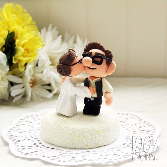 This kills me how cute this is.  Custom Wedding Cake Topper  Star Wars by TheRosemarryToppers, $100.00