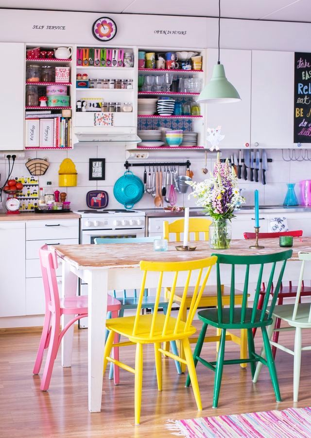 This Colourful Kitchen With Painted Dining Chairs Makes Me Smile It Would Be Such A Happy Place To Cook Love How The Colour Pops Against White
