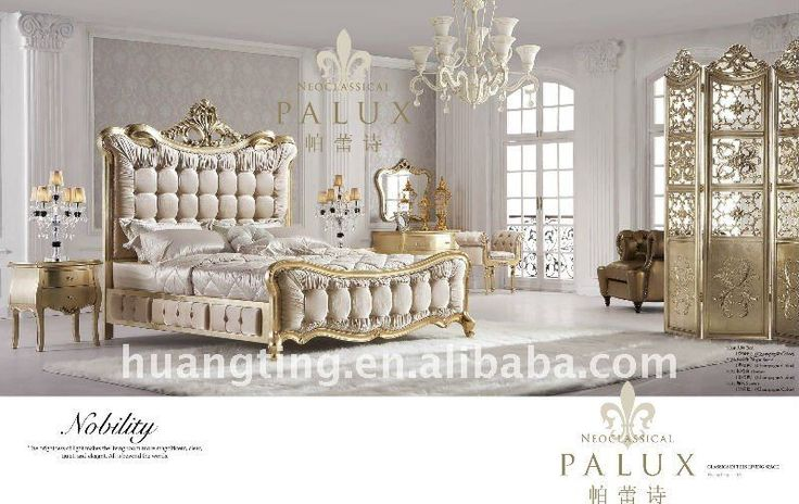 316#King size antique bedroom set/elegant and luxurious champagne gold bedroom set #316