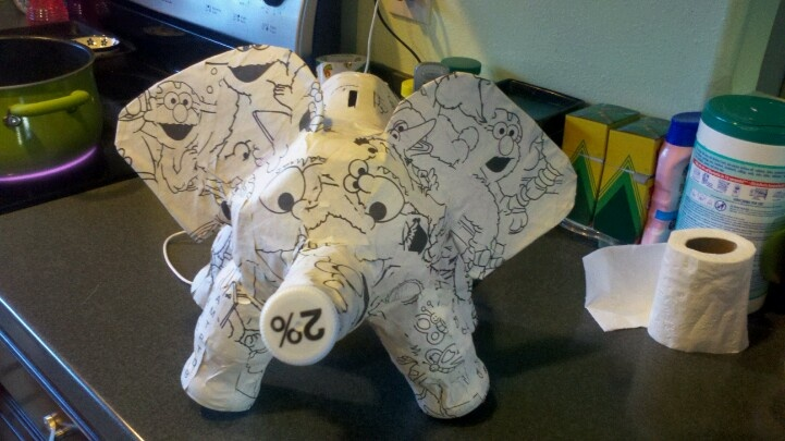 An elephant piggy bank made from