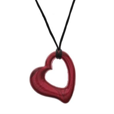 Green Pees. Gumigem Miller Heart Pendant Teething Necklace in Chillipepper