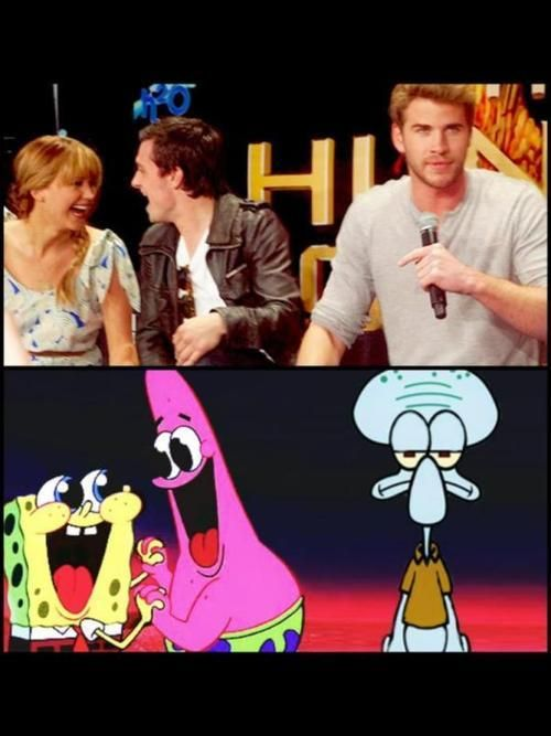 Hahah! Poor Liam Hemsworth! Jennifer Lawrence and Josh Hutcherson look so cute! Lol