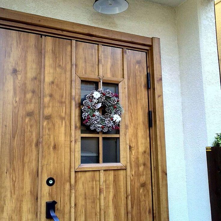 玄関ドア×クリスマスリースのインテリア実例   4ページ目   RoomClip ... Entrance/ダイソー/100均/リメイク/ニトリ/クリスマス/玄関ドア/