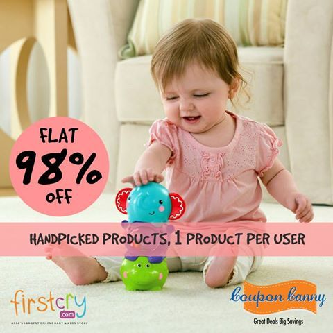 Flat 98% OFF on Handpicked Products | 1 product per user at ‪#‎FirstCry‬! Claim Now : http://www.couponcanny.in/firstcry-coupons/