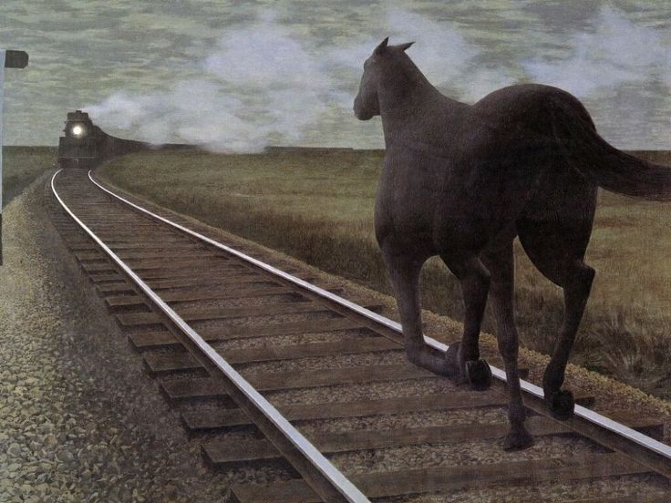 Horse and Train by Alex Colville (1954).