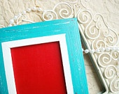 Peacock (Teal) & Classic Red with White Distressed Chalkboard - Beach House Eco-Friendly Farm House Shabby Chic Rustic