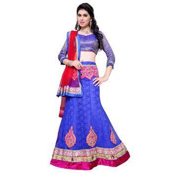 Blue net embroidered unstitched lehenga at Mirraw.