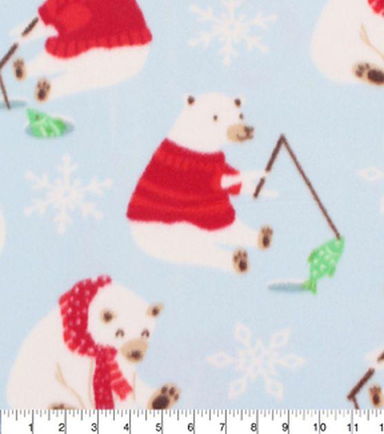 "Blizzard Fleece Fabric 59""-Polar Bear Snow Blue"