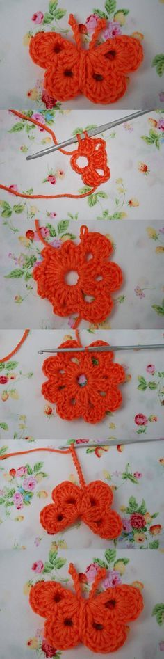 diy, crochet butterfly, butterfly ornament, tutorial