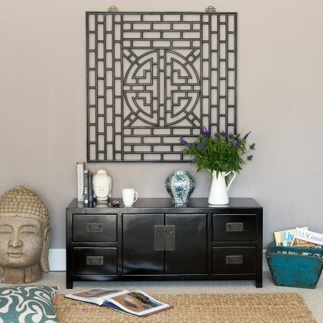 Black Wooden Sideboard | Black Media Unit | Orchid