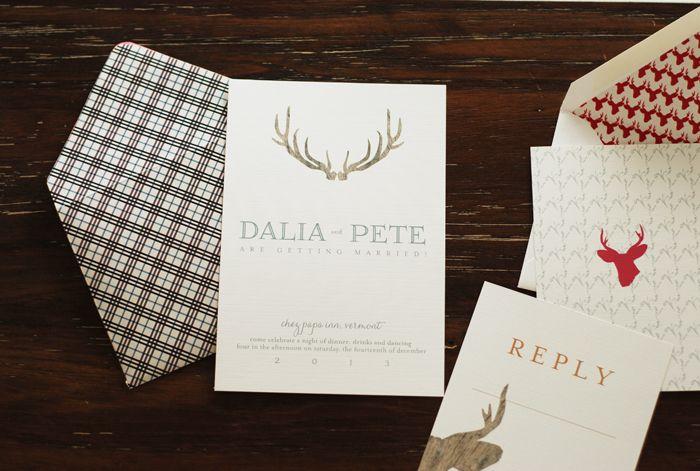 Dalia + Pete's wedding invite  stags and plaids