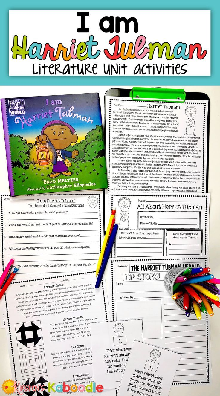 hight resolution of I am Harriet Tubman by Brad Meltzer - This literature companion for I am I  am Harriet Tubman has been …   Literature unit