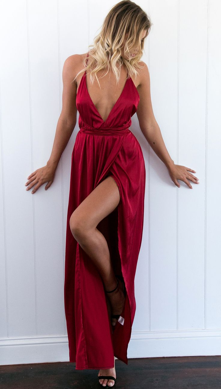 126 USD.High Slit Prom Dress,Long Prom Dress,Sexy Woman Formal Gowns,V Neck Evening Dress,Long Party Dresses for Teens,Backless Prom Dresses