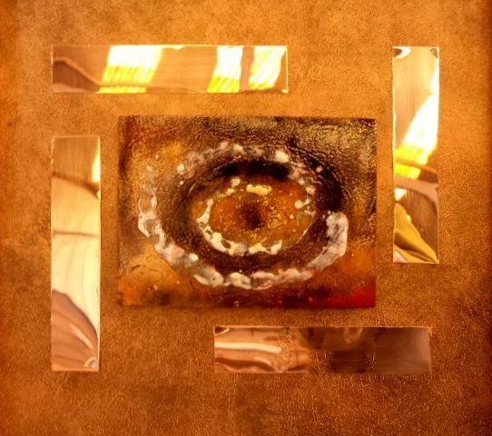 """Obra: """"Cosmos II"""". Técnica mixta esmalte al fuego."""