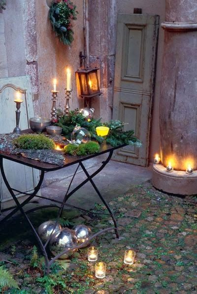 Outdoor Christmas Garden Inspiration ♥ Kerst Tuin Inspiratie Decorations Tafel Table #Fonteyn [ TheGardenFountainStore.com ]