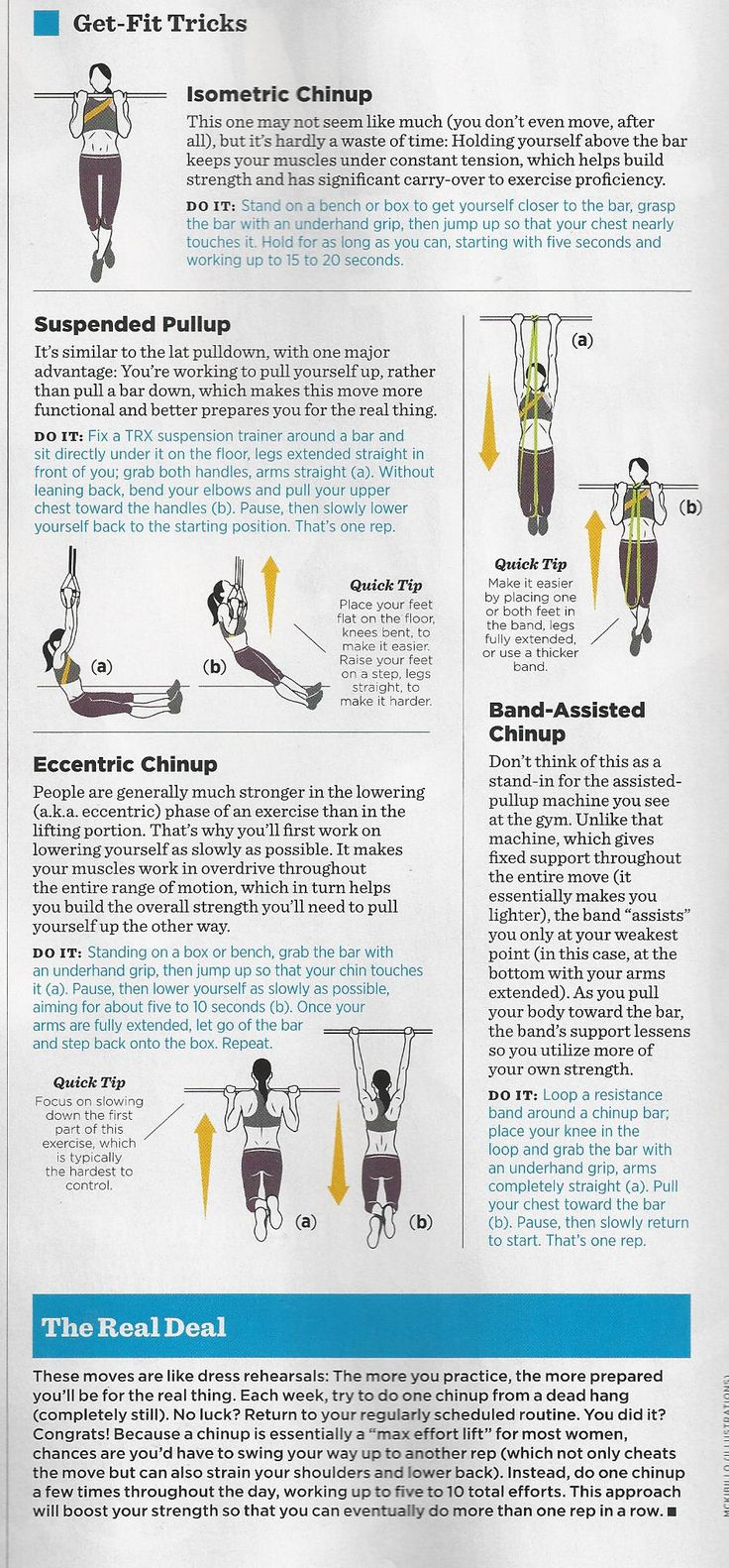 Tips for women to perform chin-ups. #ChinUpChallenge from Women's Health magazine.
