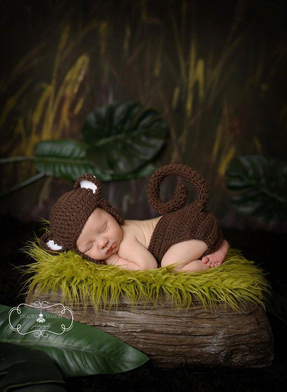 Crochet Newborn Baby Boy Girl Monkey Hat and by StephaniesPropShop, $39.99