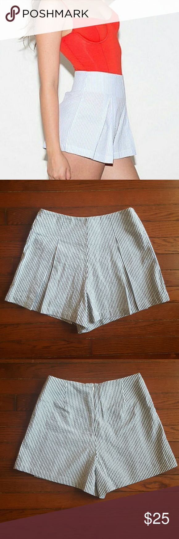 NWOT American Apparel Seersucker High Waist Shorts New without tags! These have never been worn. I got them from the American Apparel factory in Los Angeles so they don't have tags. High-waist American Apparel seersucker shorts. Blue and white pintripes. Zips up in the back. American Apparel Shorts