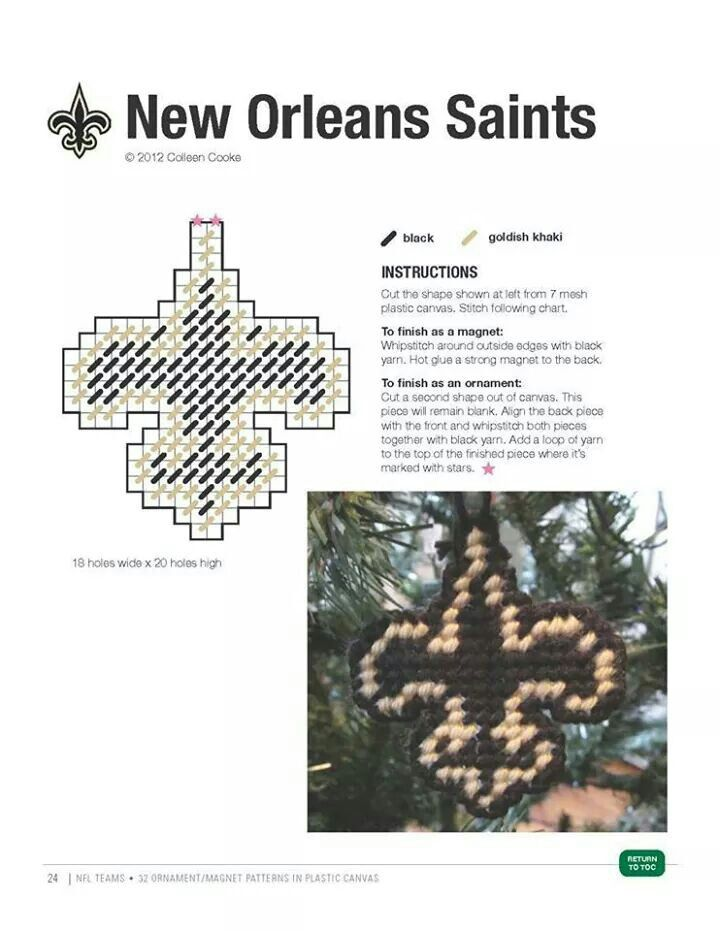 NEW ORLEANS SAINTS ORNAMENT/MAGNET made pattern