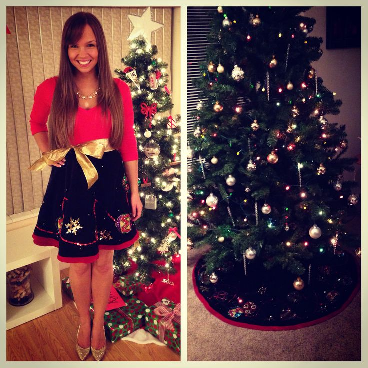 Instead of a sweater, wear a Christmas tree skirt as a skirt to an Ugly Christmas Sweater Party!